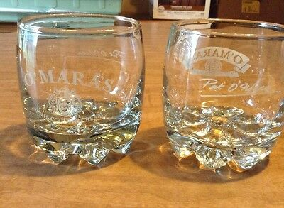 Set Of 2 Omara's Irish Country Cream Heavy Whiskey Glass, Pat Omara's Signature