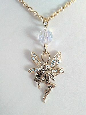 "Vintage "" Kirks Folly ""  Beautiful  Crystal   Live, Love & Laugh  Fairy  Necklac"