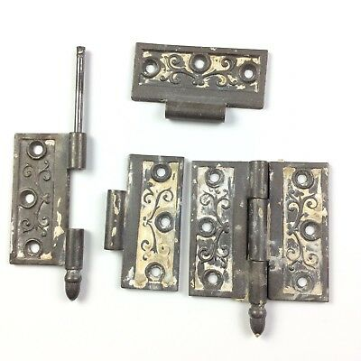 "Victorian Cast Iron Door Hinges 3.5x3.5"" Antique Hardware Needs Restoration"