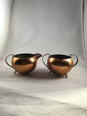 Vintage Small Copper Sugar and Creamer Set Brass Handles 3 Footed Mid Century