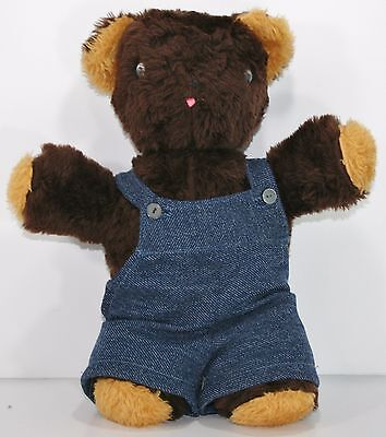 "Vintage 15"" Brown PLUSH TEDDY BEAR google eyes stuffed animal  Handmade Overalls"