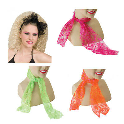 50s 80s Neon Lace Neckscarf Headscarf Disco Fancy Dress Pink Green Orange Black