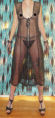 Vintage Black Sheer Sleeveless Robe M pinup clothing girl sleepwear pajamas 1950