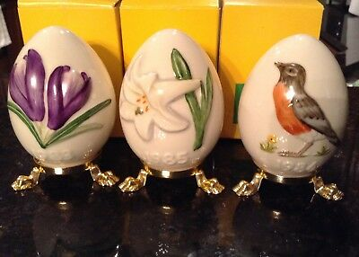 Goebel Eggs 1983 Purple Crocus,1984 Robin,& 1985 White Lily With Boxes-Set Of 3