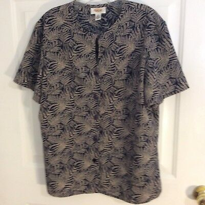 Talbots Vntage womens size 16 blouse navy tan button up keyhole neck see details