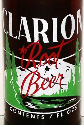 Vintage soda pop bottle CLARION ROOT BEER 3 color mountain pic 1955 amber glass