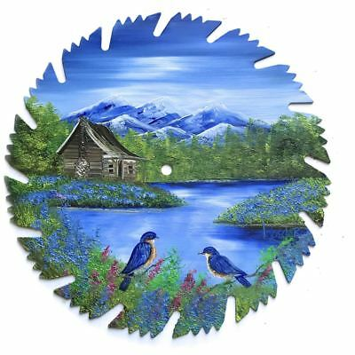 Hand Painted Saw Blade Art  Mountain Summer Log Cabin and Bluebirds