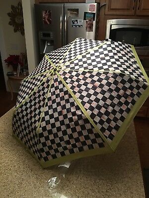 One New Unused Mackenzie Childs Courtly Check Popup Compact Umbrella Last One