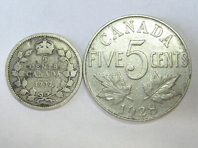1907 Canada Sterling Silver 5 Cents + 1928 Nickel Coins -- both for one price
