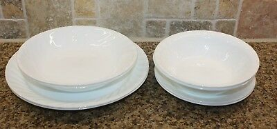 9 pc LOT Corelle ENHANCEMENTS White Swirl dinner plates pasta cereal bowls salad
