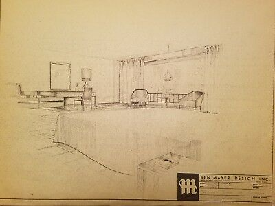 Vintage Mid century design drawing for Ben Mayer lot#1