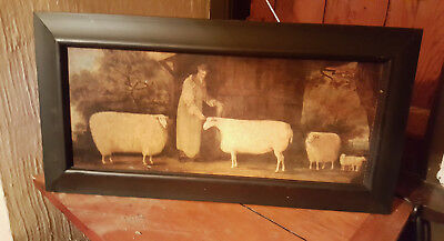 English Folk Art on Board Unique Shepherd with Sheep in Antiqued Black Frame