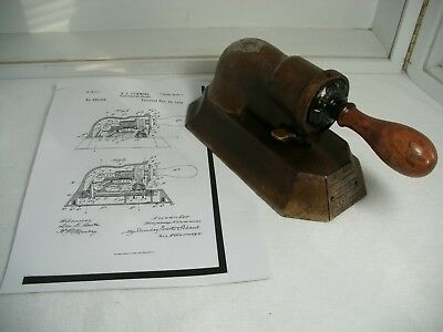 ANTIQUE 1890 B F CUMMINS & CO CHICAGO CHECK PERFORATOR w/Patent information