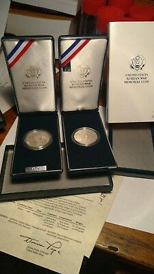Two ~ 1991-P Korean War Memorial Commemorative Proof Silver Dollar With COA