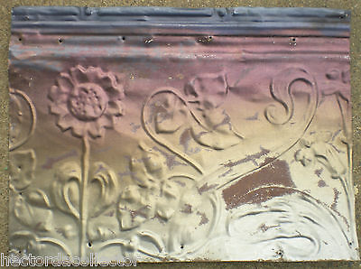 SALE !! Antique Ceiling Tin Tile Victorian Flowers Acanthus Vine Shabby Chic