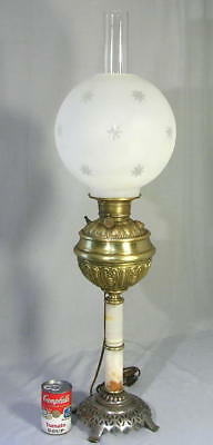 """34"""" Tall Antique Victorian Ornate Brass Glass Parlor Banquet Oil Lamp Electric"""