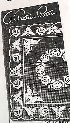 E-936 Vintage FILET ROSES/BUTTERFLY Centerpiece Pattern to Crochet (Reprint)