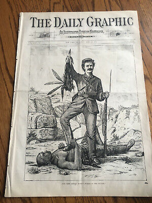 Indian Scalped FRONT Page Indian Wars Daily Graphic 1873 Newspaper original RARE