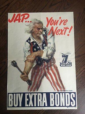 Original Jap You're Next James Montgomery Flagg 1945 Poster United States WWII