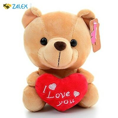 Plush Teddy Bear With Heart I LOVE YOU Brown For Valentines Day Birthday Gift