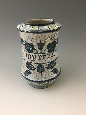 A Late 17th Century/Early 18th Century Maiolica Drug Jar/Alberello For Myrrh
