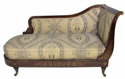 French Settee or Chaise Lounge with Rosewood and inlaid brass, stamped Dubois