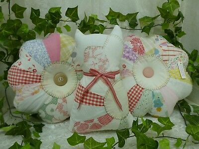 Vintage Antique Quilt -Pair Of Flower Pillows With Matching Kitten Pillow