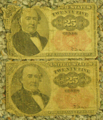 Two 25 Cent Fractional Currency Notes. Free Shipping!!!!!!!!!!!