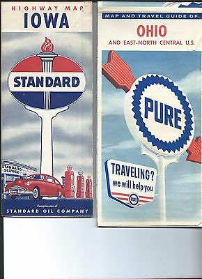 1950'-60' Gas Station maps of Ohio (Pure Oil), and Iowa, (Standard Oil)