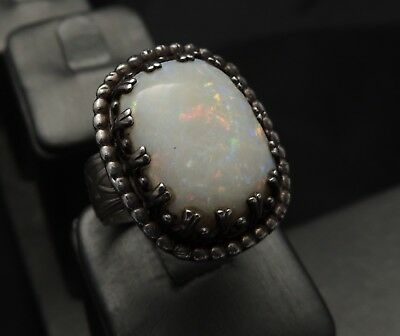 Antique Huge Victorian Fire Opal Etched Sterling Silver Ring Size 11 Spectacular