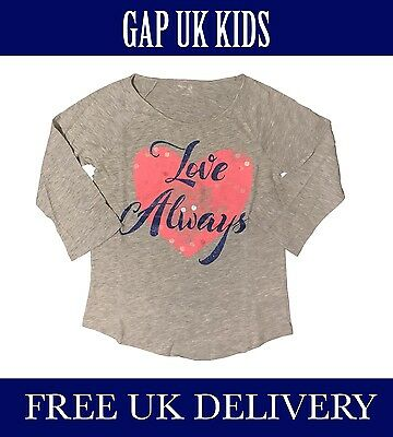 Bnwt Gap Kids Uk Girls Grey Shine T-Shirt. Uk Seller. Free Delivery