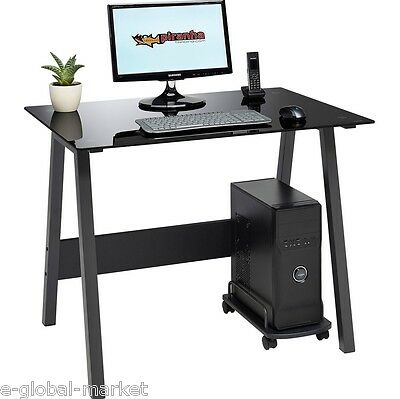 Office Desk Glass Computer Table PC Workstation Laptop Home Desktop Trolly BLACK