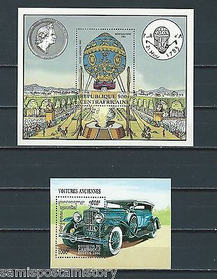 French Colonies - mnh sheets - transportation - hot air balloon - antique car