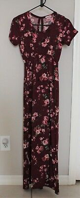 Maxi-Style Red Flowery Maternity Dress (S)
