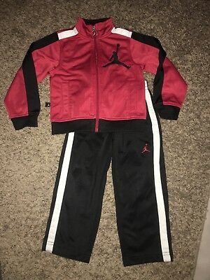 Baby Boys Jordan Athletic Outfit Size 3t Jacket Track Pants red black
