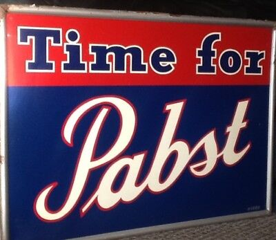 "Antique tin beer sign. ""Time for pabst"" 30X22 # 1006"