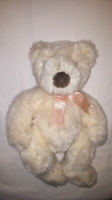 Ty Beanie Babies 1996 Teddy Bear Beige Pink Neck Ribbon 14 inches
