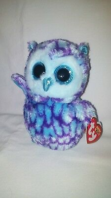 Ty Beanie Babies Boo's Oscar Owl Purple And Blue 7 inches Long