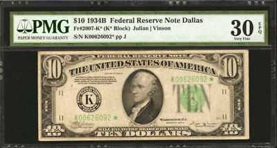 Fr. 2007-K*. 1934-B $10 Federal Reserve Star Note. Dallas. PMG Ver... Lot 90047