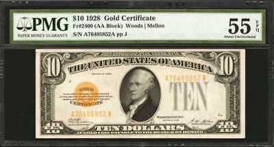 Fr. 2400. 1928 $10 Gold Certificate. PMG About Uncirculated 55 EPQ. Lot 90058
