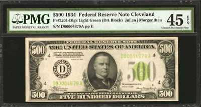 Fr. 2201-Dlgs. 1934 $500 Federal Reserve Note. Cleveland. PMG Choi... Lot 90048