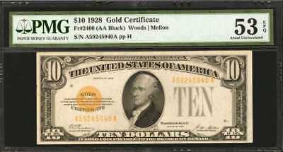 Fr. 2400. 1928 $10 Gold Certificate. PMG About Uncirculated 53 EPQ. Lot 90059