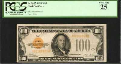 Fr. 2405. 1928 $100 Gold Certificate. PCGS Very Fine 25. Lot 90060