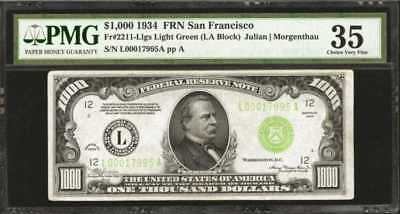 Fr. 2211-Llgs. 1934 $1000 Federal Reserve Note. San Francisco. PMG... Lot 90052