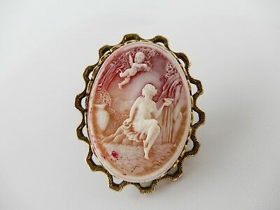 Vintage Signed Coro Gold Tone Deeply Carved Cameo Brooch Cupid Valentine Brooch