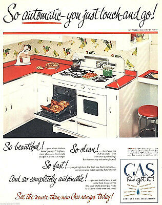 "1951 American Gas association gas appliances kitchen photo Print Ad 10.5""x13"