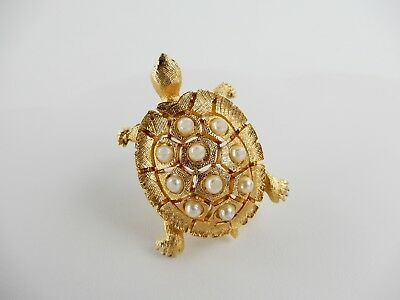 CINER Faux Pearl Gold Toned 3D Turtle Pin Brooch Signed Ciner Brooch
