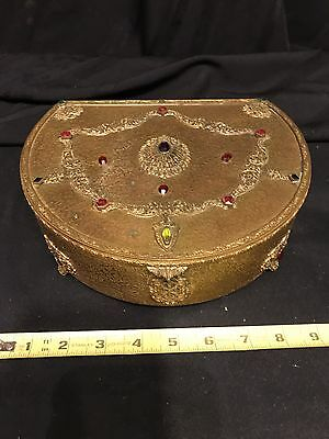 Estate Found Vintage Ornate Jeweled Art Deco Jewelry Box Signed Silvercraft