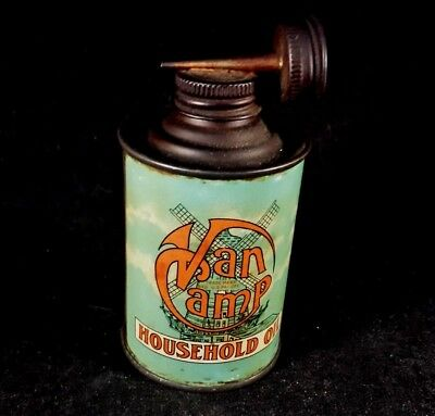 Vintage Van Camp Household Oil Handy Oiler Dual Spout Rare Old Household Tin Can