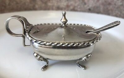 Antique Salt Cellar Open 800 Silver Footed Glass Sterling Silver W/Spoon Set Vtg